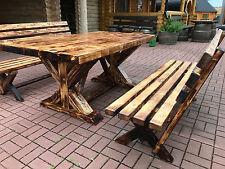 NEU: Fachwerk Garten Sitzgarnitur Tisch 2 Bänke mit Lehne Biergarten Sitzgruppe