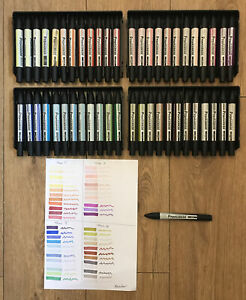 49 Letraset ProMarker ProMarkers Marker Pens Swatched All Different Colours