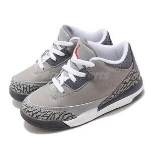 Nike Jordan Retro 3 TD III Cool Grey AJ3 Toddler Infant Shoes Sneaker 832033-012