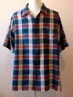"Tommy Bahama Men's Shirt Button Front Silk Red White Blue Plaid 2XL XXL 54"" EUC"