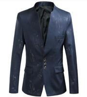 Men's Blazers Stand Collar Floral Slim Fit Jacket Casual Coat Outwears Plus Size