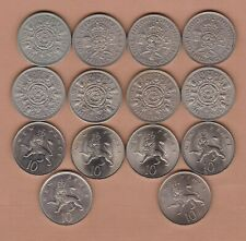 More details for 14 different florins and ten pence coins dated 1947 to 1979 in a high grade