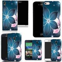 hard durable case cover for samsung & other mobile phones - blue poinsettia