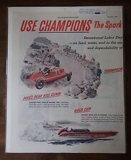 VINTAGE EVENING POST,LABOR DAY RACES W/CHAMPION SPARK PLUGS ADVERTISEMENT 1946