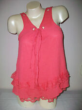 Womens CECICO Size Large ADJUSTABLE TIE With Ruffles Sleeveless Top