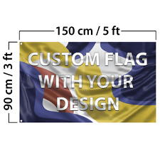 Custom Flag with Your Design, 3x5 feet size, Single Sided, with Grommets