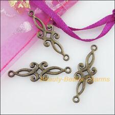 20 New Charms Flower Antiqued Bronze Tone Pendants Connectors 9x29.5mm