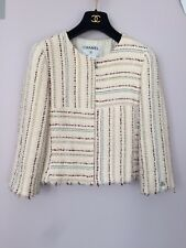 CHANEL White Tweed/Boucle Jacket w Fringe size 40