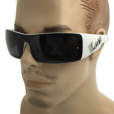 White LOCS Cholo Gangster Sunglasses Shades Dark Lenses OG Lowrider Large Biker