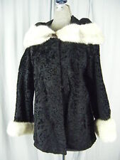 MAY D & F Vtg 60s Black Curly Wool Jacket w/Ivory Mink Collar & Cuffs- M