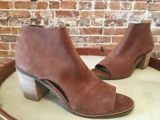 Lucky Brand Kasima Toffee Brown Leather Peep-toe Heeled Bootie 9 39 New
