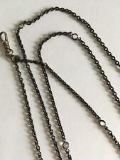"""Gunmetal Crystal Necklace 60"""" Antique Victorian Long Muff Chain"""