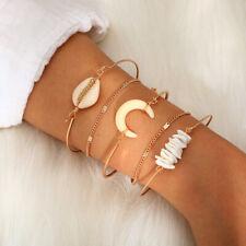 5Pcs/Set Shell Charm Bracelet Bangle Women Fashion Boho Tassel Bead Bracelet Set