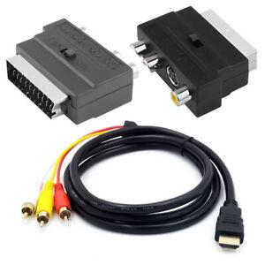 1.5M HDMI auf 3-RCA AV Kabel Scart auf 3 Cinch S Audio Video Konnector Adapter
