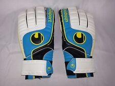 Uhlsport Germany Aqua White Black Yellow Soft Ground S / M Soccer Goalie Gloves