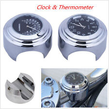"7/8"" 1"" Motorcycle Handlebar Black Dial Clock Temp Thermometer Gauge Waterproof (Fits: More than one vehicle)"