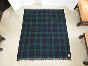 "Vintage Glentana Scotland Multicolor Wool Plaid Fringed Blanket Throw 61"" X 53"""