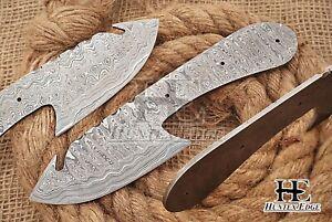 HUNTEX Custom Hand-Forged Damascus Steel 200 mm Long Gut Hook Blank Blade Knife