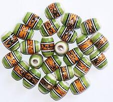 25 Keramik Perlen Peru,14 mm,Olive oval grün orange,Inka Muster,Indianer Schmuck