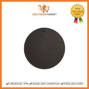 Trivet Silicone Mat Heat Resistant Round Non-Slip Pot Pan Pad Black