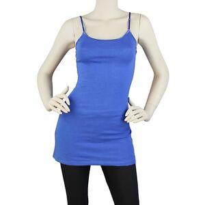 Spaghetti Strap Long Tunic Cami Tank Top Cotton Basic Plain S M L 1X 2X 3X