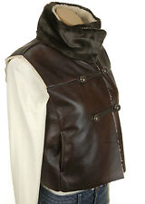 NIP NWT JENNIFEZR LOPEZ Brown sherpa LEATHER women vest sz X small $84