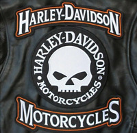 HARLEY ROCKERS WILLIE G. SKULL Jacket 3 pcs PATCH & motorcycle leather gloves