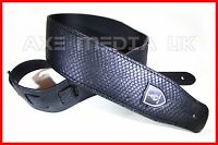 EMBOSSED SNAKE SKIN BLACK PU LEATHER GUITAR STRAP BASS