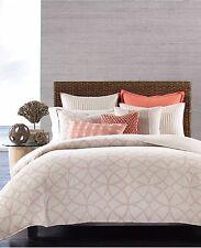 NEW Hotel Collection Textured Lattice Linen POPPY Full Queen Duvet Cover $330