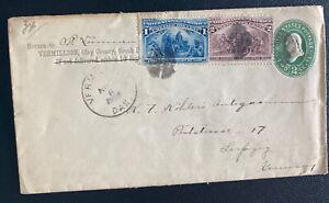 1903 Vermillion SD USA Postal Stationery Uprated Cover To Leipzig Germany