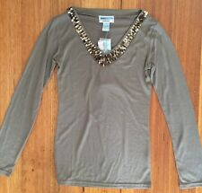 Women V Neck Long Sleeve Jeans West Top with Sequin Size S