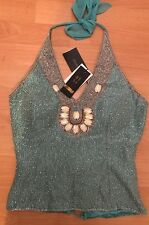LADIES AFTERSHOCK TOP NWT SEQUINNED BODICE CORSET SMALL FESTIVAL BUSTIER HOLIDAY