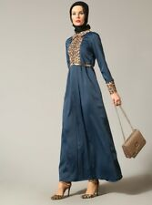 Leopard trim maxi abaya dress,size 10, blue, Turkish designer, gold belt