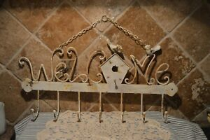 HUGE WEATHERED METAL WELCOME SIGN WITH 7 HOOKS AND BIRDHOUSE~GR8 FARMHOUSE DECOR