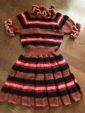 Girl's Dress Handknitted sz 12 Ruffled Sweater-Dress, brand new