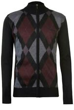 New Mens Pierre Cardin Full Zip Argyle Cardigan High Neck Black/Burgundy 4XL