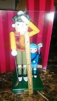 """Wooden NUTCRACKER Scottish MacGregor the Golfer with Son/Caddy 15"""" Tall BOMBAY"""