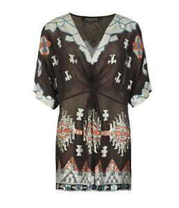 AllSaints black pure silk aztec chariot dress. Size 8 but a generous fit