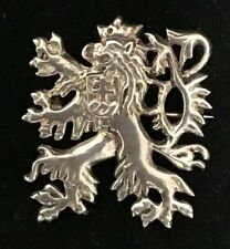 Family Crest Pin Brooch Antique Vintage Sterling Silver Griffin Lion