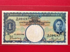 1941 malaya 1 dollar banknote @ CIR
