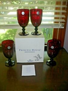 Princess House Fantasia Ruby Red Iced Tea Glasses SET OF 4 NEW IN BOX