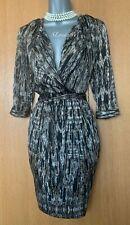 KAREN MILLEN UK 8 Brown Geometric Print 3/4 Sleeves Occasion Shirt Style Dress