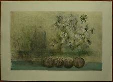 GIUSEPPE AJMONE litografia Paesaggio e Fiori  50x70 firmata stamp la SPIRALE