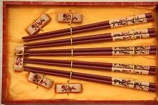 Baguettes Chinoises-Chopsticks-Kuai Zi-Junquillos-Stäbchen-bacchette-fleur rouge