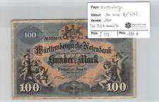 BILLET WURTEMBERG - ALLEMAGNE - 100 MARK 1911 - (N°616) TRES PETIT NUMERO!!!!