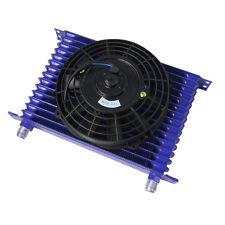 "15 ROW AN-10 AN Oil Cooler Tank Core Full ALUMINUM Blue &7"" Electric Fan Kit"