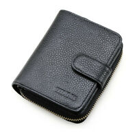Black Mens Genuine Leather Zip Around ID Pocket Card Wallet Car Key Holder Purse