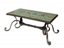 table basse 1940 en fer forgé et céramique