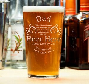 Personalised Engraved Beer Pint Glass Gift Dad Stag Best Man Fathers Day Gift