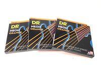DR Strings Guitar Strings 3 Packs Electric Neon Orange 09-42 Light
